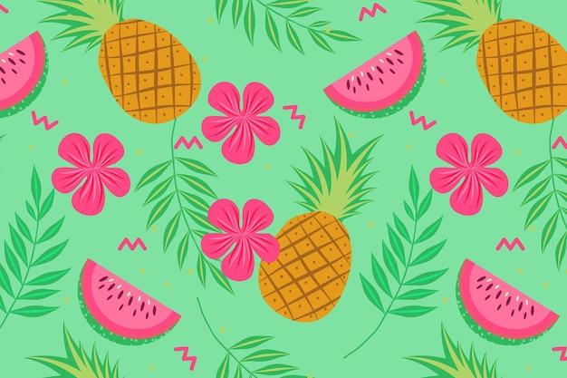 パイナップルとスイカの果実のシームレスパターン