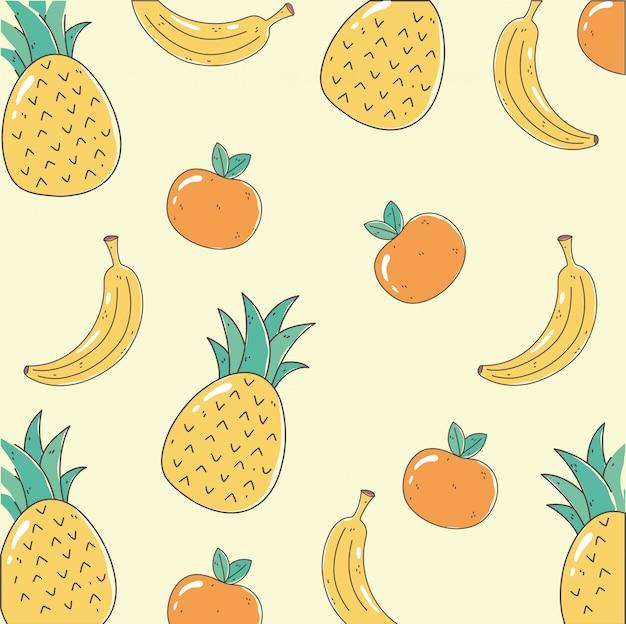Ананас банан и апельсин свежий рынок органическая здоровая еда с фруктами фоновой иллюстрации