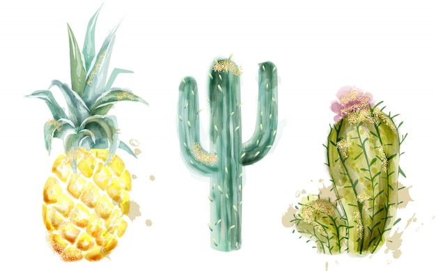 Pineapple and cactus set watercolor