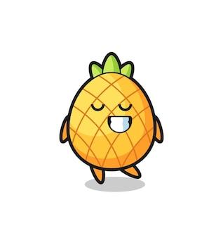 Иллюстрация шаржа ананаса с застенчивым выражением лица, милый стиль дизайна для футболки, наклейки, элемента логотипа