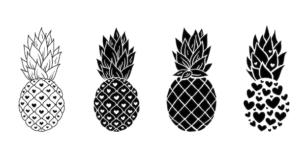 Pineapple cliparts bundle, black and white pineapple silhouette,  fruit illustration