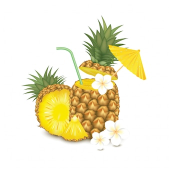 Pineapple cocktail garnished, white flower, green straw tubes and yellow umbrella isolated on background. illustration