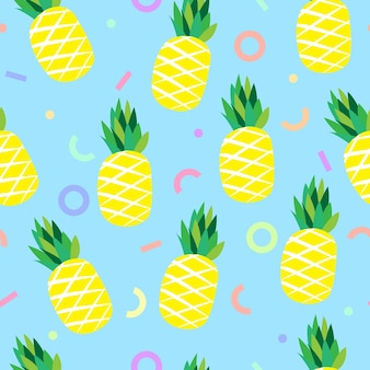 Pineapple and colorful geometric line seamless pattern background