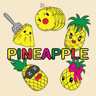 Pineapple cute characters set for summer tropical stickers
