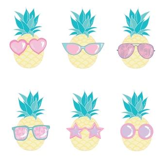 Pineapple cute characters set