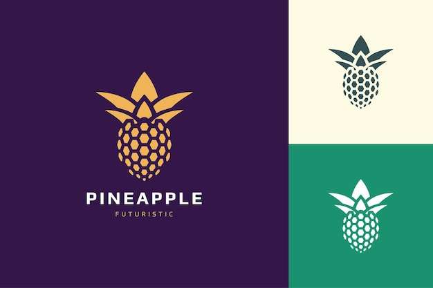 Pineapple database or technology logo in abstract and futuristic shape