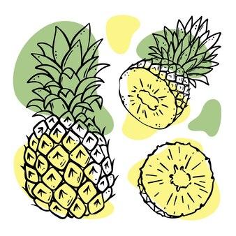 パイナップルおいしいトロピカルフルーツ全体と葉のスライス