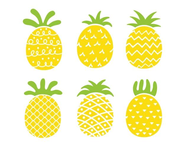 파인애플 디자인 노란색 과일이 상쾌합니다. 여름 장식 작업용.