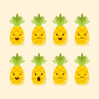 Pineapple different expression or emotions set