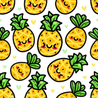 Pineapple in doodle style seamless pattern