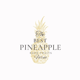 Pineapple farms abstract logo template. hand drawn pineapple sketch with retro typography.