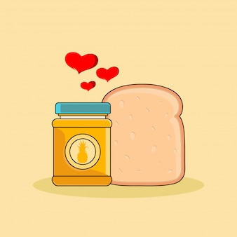 Pineapple flavored bread jam and bread clipart illustration. fast food clipart concept isolated. flat cartoon style vector