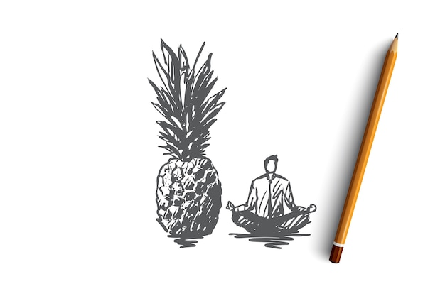 パイナップル、食品、果物、オーガニック、ビタミンの概念。手描きの巨大なパイナップルと蓮のポーズのコンセプトスケッチに座っている男。図。