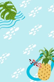 Pineapple frame on a sky blue background design