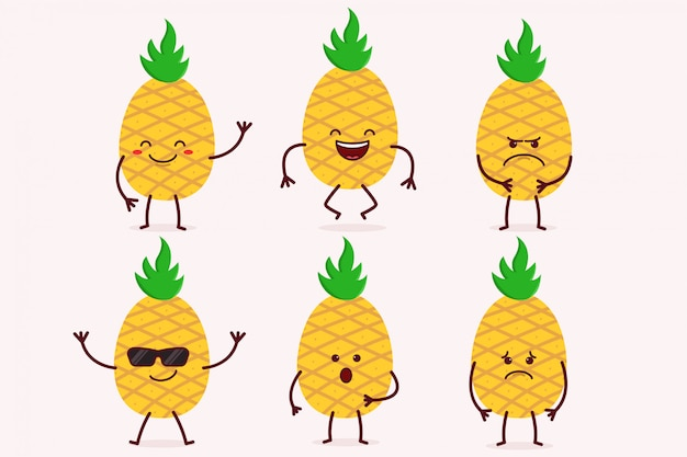 Pineapple fruit character set