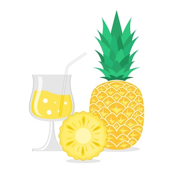Pineapple fruit illustration with summer fruits