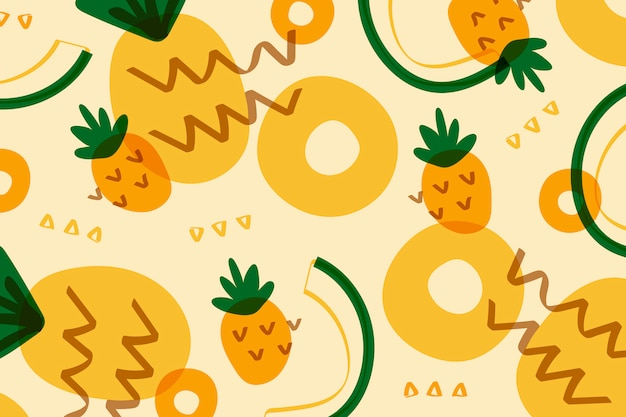 Ананас фруктовый в стиле мемфис
