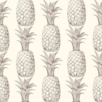 Pineapple fruit sketch seamless pattern. exotic tropical fruit backdrop.