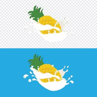 Pineapple fruit splashed into fresh dairy milk