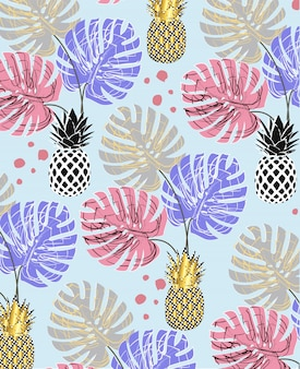 Pineapple fruit with monstera leaves pattern