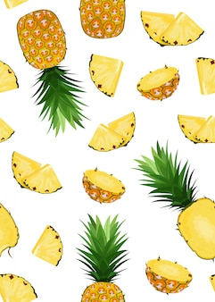 Pineapple fruits and slice seamless pattern