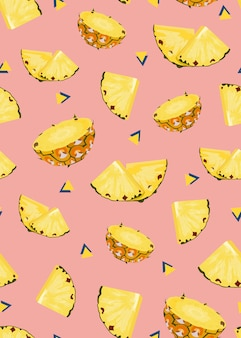 Pineapple fruits slice seamless pattern