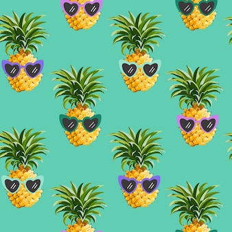 Pineapple funny glasses seamless pattern for fashion print, summer texture, wallpaper, graphic design, tropical background, fruit illustration in vector