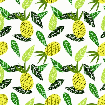 Pineapple and green leaves seamless pattern.