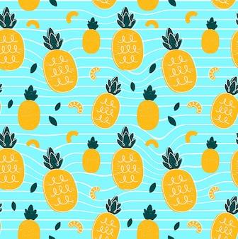 パイナップル手描画スタイル美容シームレスパターン。イラスト色のシームレスなパターン。パイナップル、抽象的な幾何学ライン、トロピカルフライ