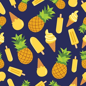 パイナップルアイスクリームシームレスパターン