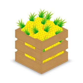 나무 상자에 파인애플