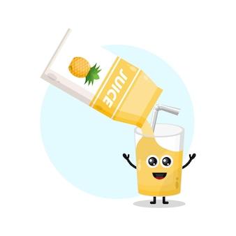 파인애플 주스 상자 유리 귀여운 캐릭터 로고