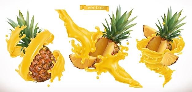 Pineapple juice. fresh fruit 3d realistic vector icon