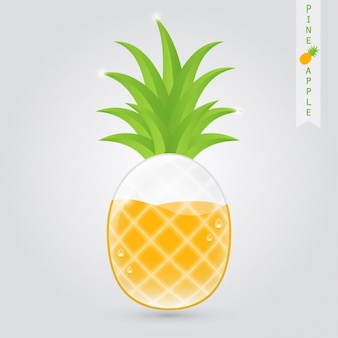Bicchiere di succo di ananas con ananas all'interno