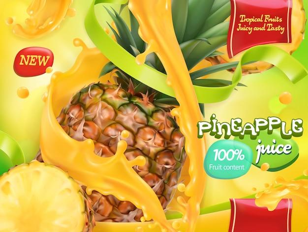 バイナップルジュース。甘いトロピカルフルーツ。 3dリアルなベクトル、パッケージデザイン