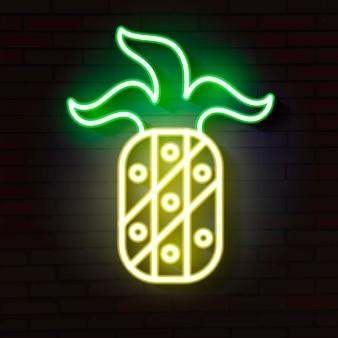 Светящийся неоновый знак ананаса на кирпичной стене. векторная иллюстрация.