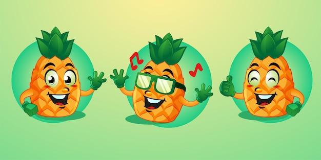 Pineapple mascot cartoon cute design