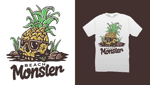 파인애플 마스코트 티셔츠 디자인