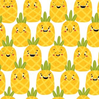 Pineapple modern creative seamless pattern. funny tropical characters with happy faces. cartoon illustration in simple hand drawn scandinavian style. ideal for printing baby products