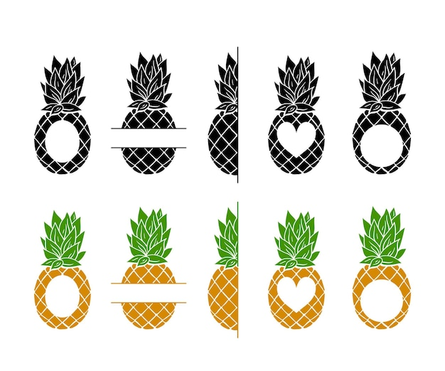 Pineapple monogram frame cliparts bundle,  tropical fruit frame with place for text