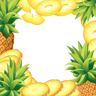 바나나 파인애플과 파인애플 조각. 장식 포스터, 상징 천연 제품, 농민 시장에 대 한 빈 공간을 가진 그림. 웹 사이트 페이지 및 모바일 앱