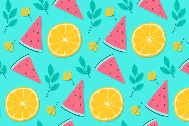Pineapple and orange summer background pattern