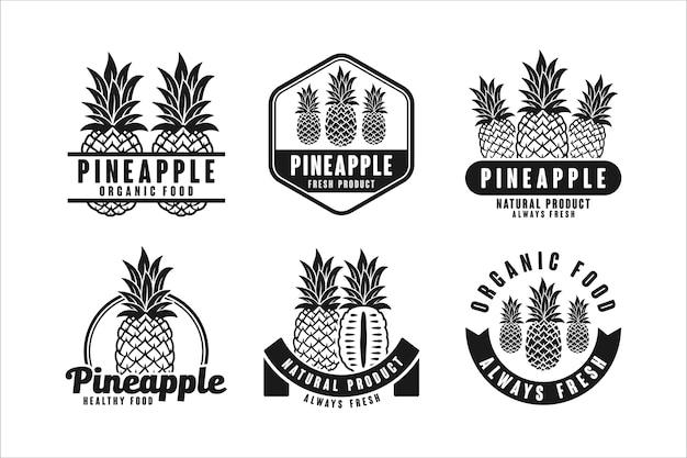 Коллекция логотипов дизайна органических продуктов ананаса