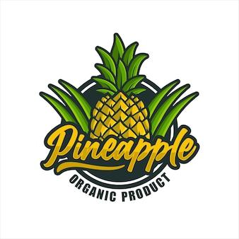 パイナップルオーガニック製品デザインプレミアムロゴ