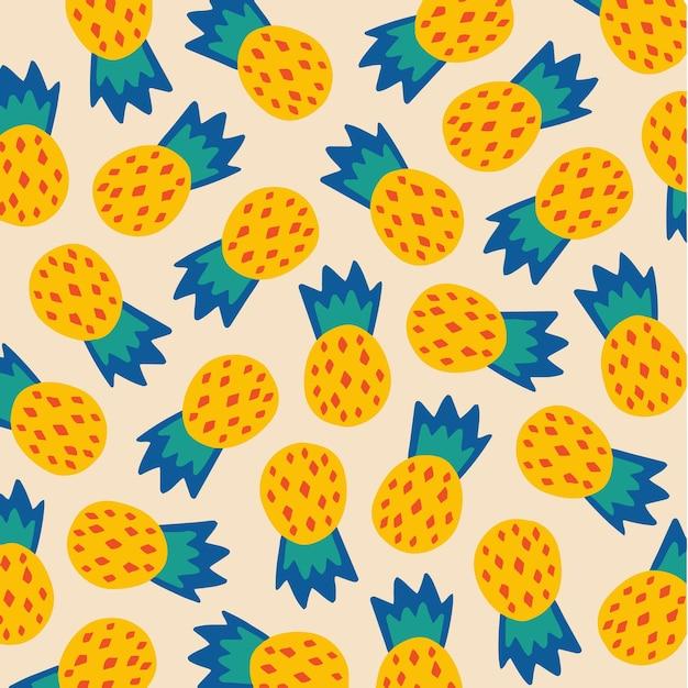 Ананасовый узор фона в социальных сетях с фруктами, векторные иллюстрации