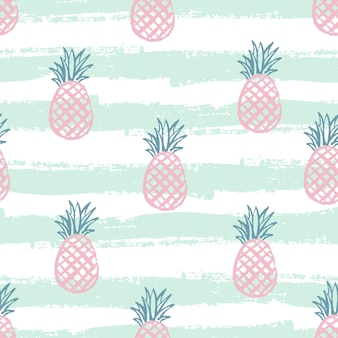 Pineapple pattern seamless decorative background with pineapples