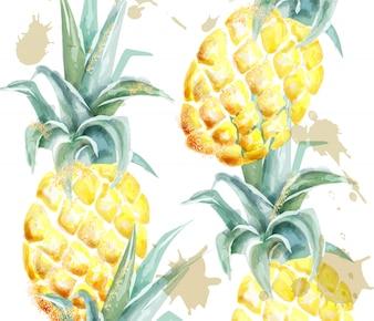パイナップル柄の水彩画