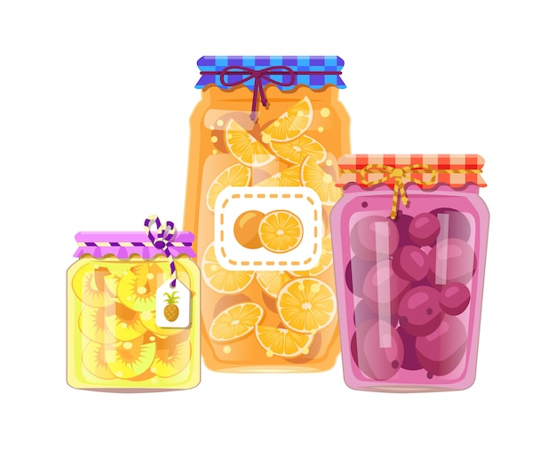 Pineapple and peach jam set illustration