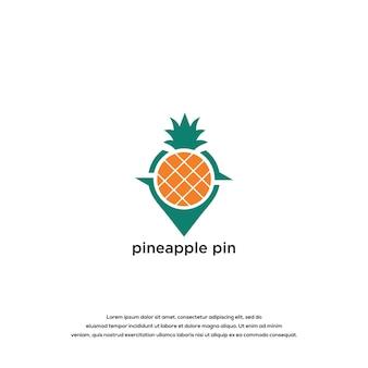 Pineapple pin logo design vector template