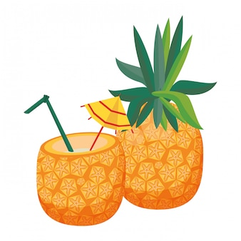 Pineapple and pineapple cocktail icon